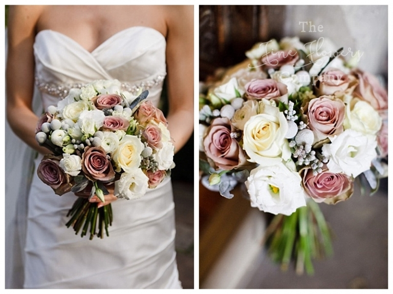 winter wedding, winter bridal bouquet with vintage dusty pink Amnesia roses and silver grey brunnia berries.