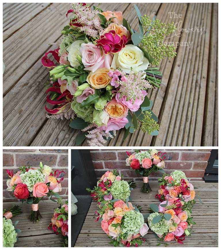 bridal and bridesmaids bouquets with blush coral and green roses, hydrangeas, astilbe and glorious lilies,