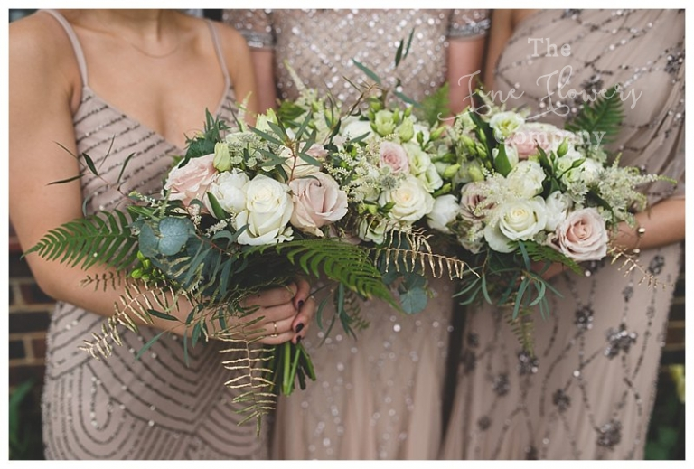 champagne gold and nude pink and gold bridesmaids bouquets from wedding at hampton court house
