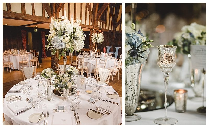 pale blue and silver wedding centrepiece, great fosters wedding flowers,