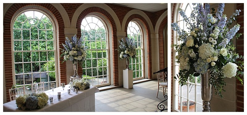 great fosters wedding ceremony flowers, orangery wedding flowers, great fosters wedding florist.