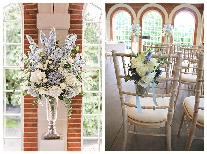 ivory and pale blue wedding flowers, chair back flowers and ceremony display.