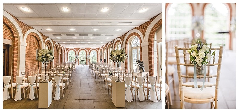 great fosters wedding ceremony, orangery wedding flowers.
