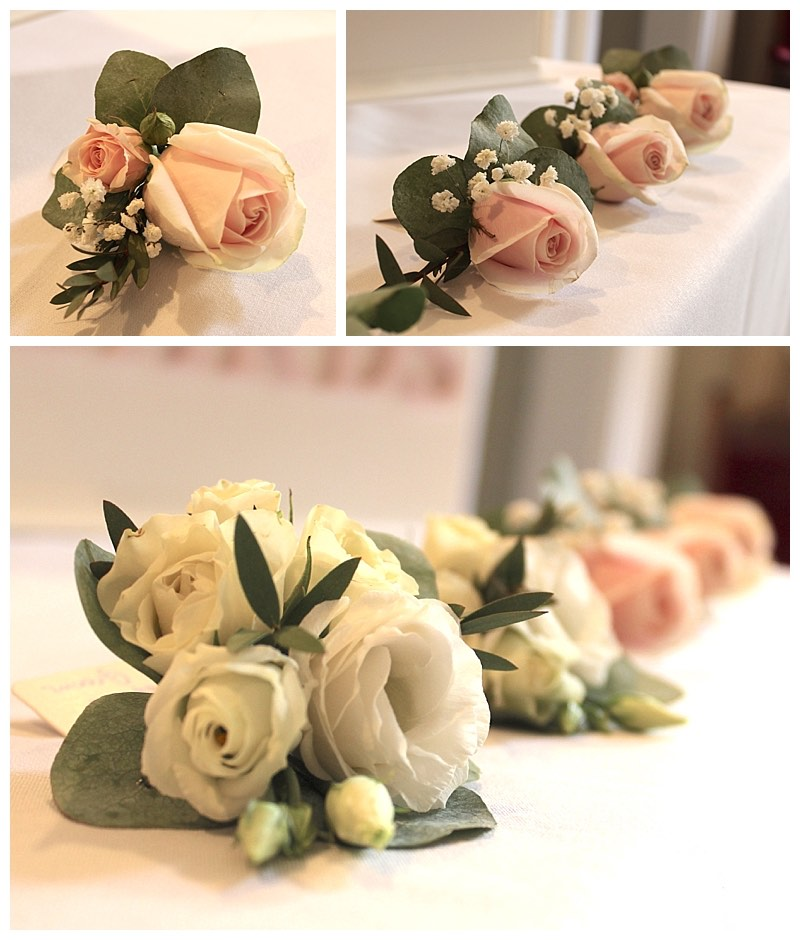 ivory and blush pink rose buttonholes and corsages
