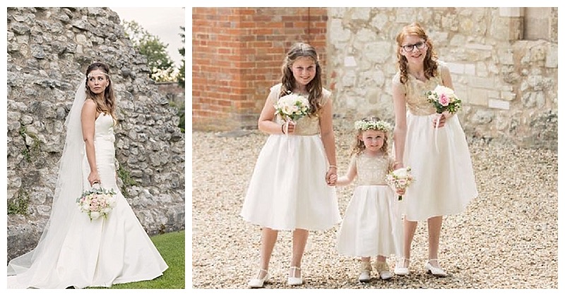 bride and bridesmaids at farnham castle wedding