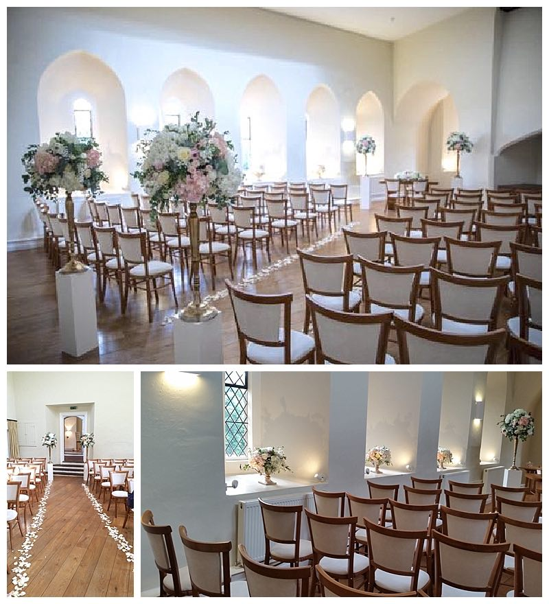 farnham castle wedding ceremony room, the lantern hall dressed with ivory and blush wedding flowers for a summer wedding