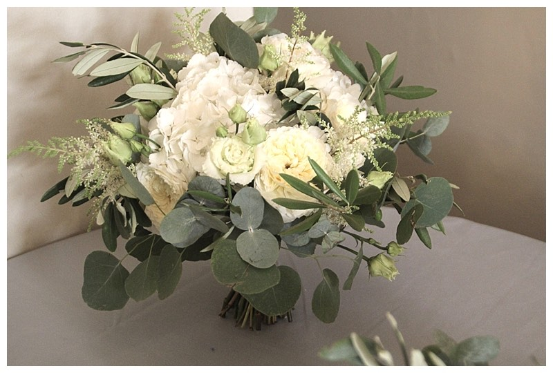 eucalyptus and white flowers bridal bouquet.