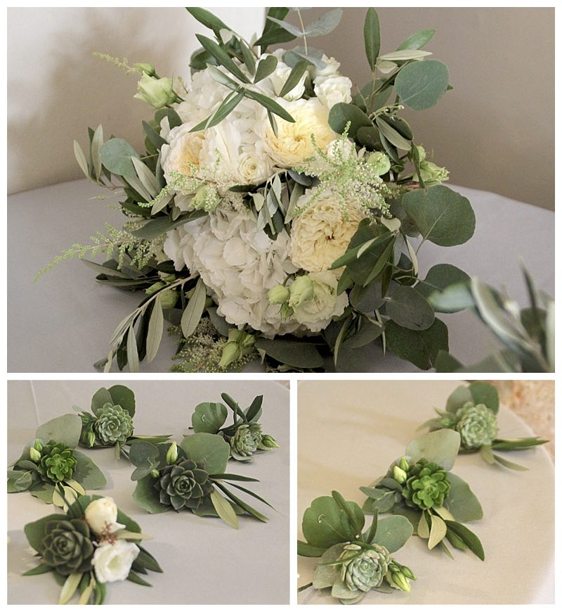 botanical unstructured wedding bouquet and buttonholes. with succulents, greenery, olive and eucalyptus foliage,