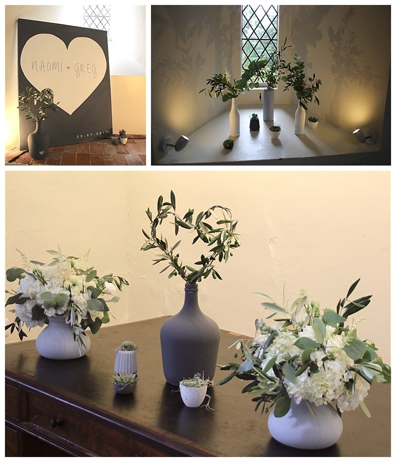 Olive and eucalyptus wedding flowers ideas with white flowers