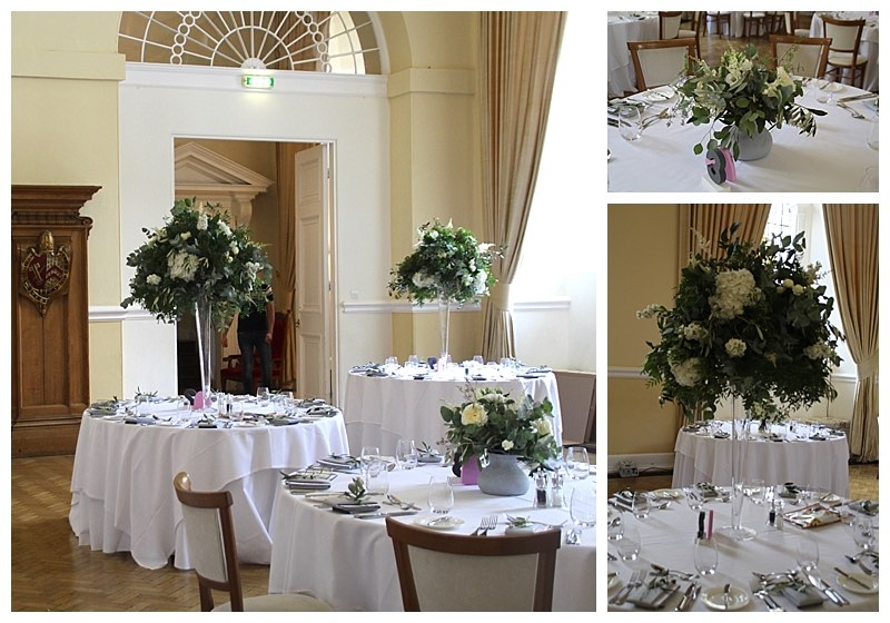 loose organic greenery table centrepiece displays from wedding at Farnham Castle.