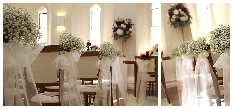 farnham castle wedding aisle with gypsophila and tule chair end flower posies.