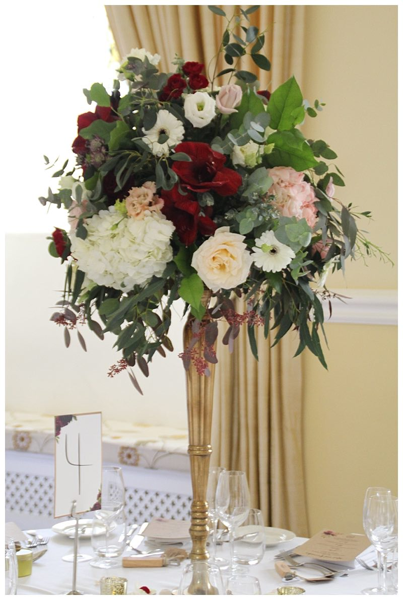 Rich Burgundy And Pastels Wedding Flowers At Farnham