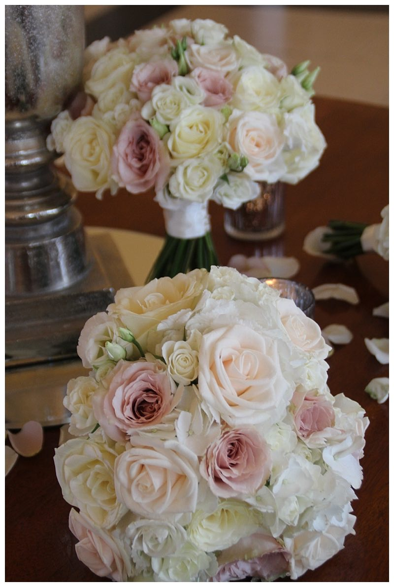 ivory cream and nude pink roses bridal bouquet and bridesmaids bouquets.