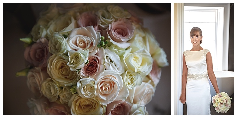 bridal bouquet of ivory, vendella and quicksand roses, vintage roses bouquet. ivory and nude champagne pink roses bridal bouquet
