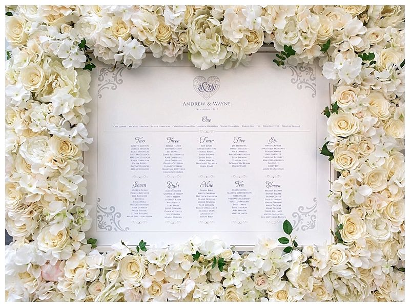 white wedding floral frame for hire, table seating plan floral frame