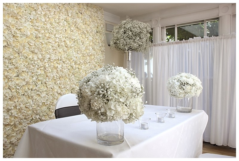 wedding ceremony flowers with all white flowers at pembroke lodge in surrey