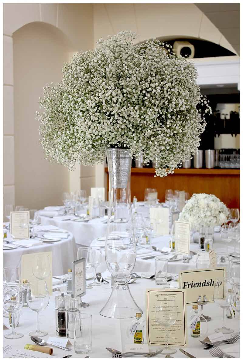 gypsophila baby breath tall vase wedding centrepiece at Pembroke lodge wedding in richmond.