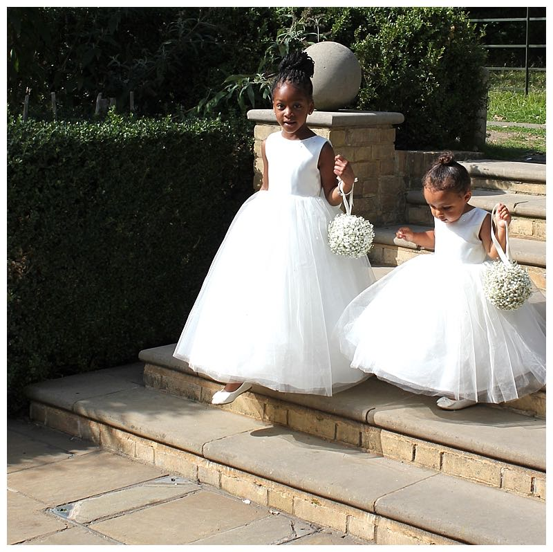 white gypsophila flower girls pomanders