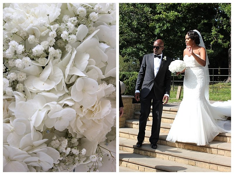 bridal bouquet of all white flowers using hydrangeas, carnations and gypsophila