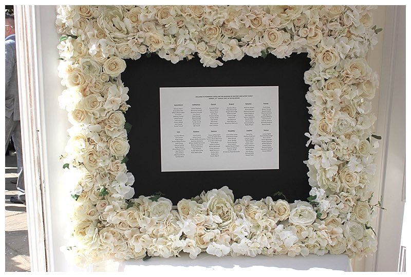 flower frame seating plan frame with white roses hydrangeas and peonies.