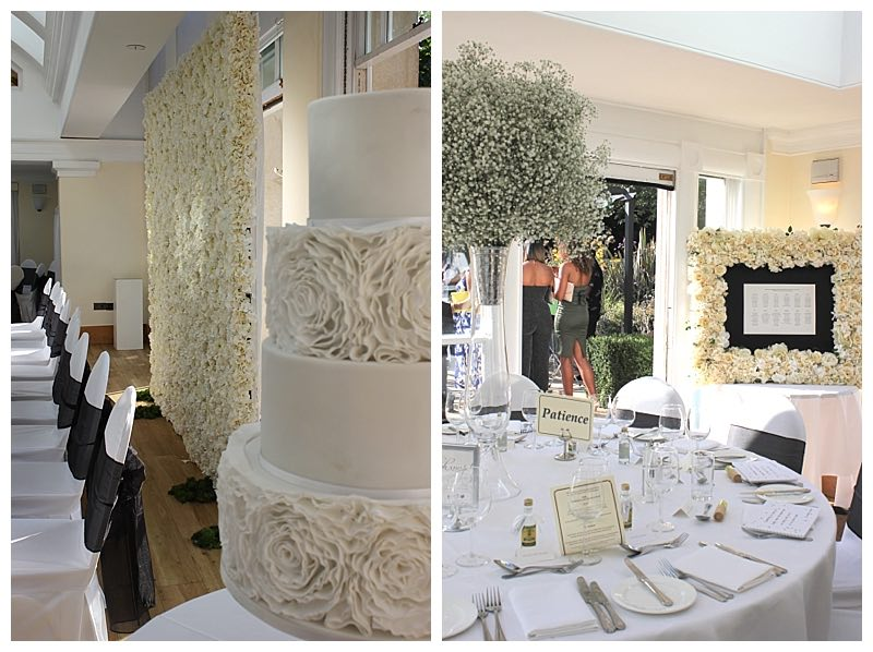 white wedding flowers and flowerwall.