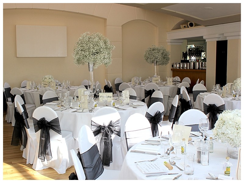 gypsophila tall vase centrepieces at pembroke lodge in surrey