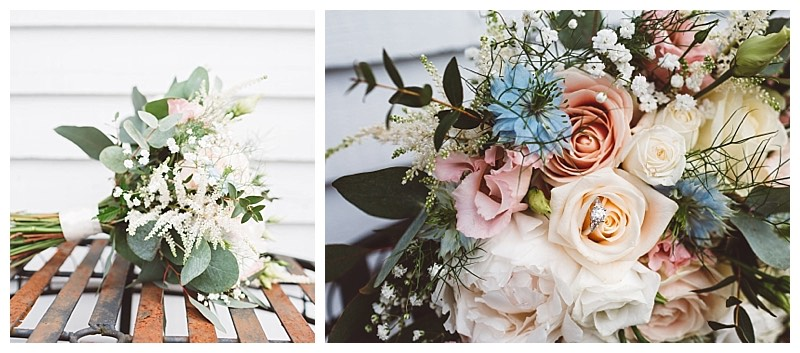 bridesmaids bouquet with peonies, dusty pink lisianthus, blue nigella, astilbe and eucalyptus.