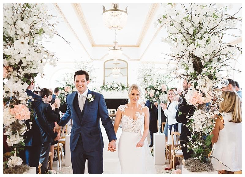 getting married at Northbrook park, wedding florist at Northbrook park, blossom trees dow the aisle at Northbrook park wedding.