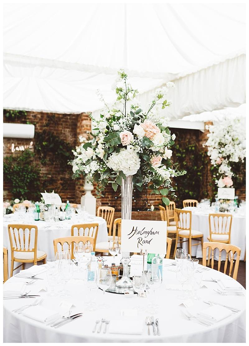 tall table centrepieces at Northbrook park wedding.