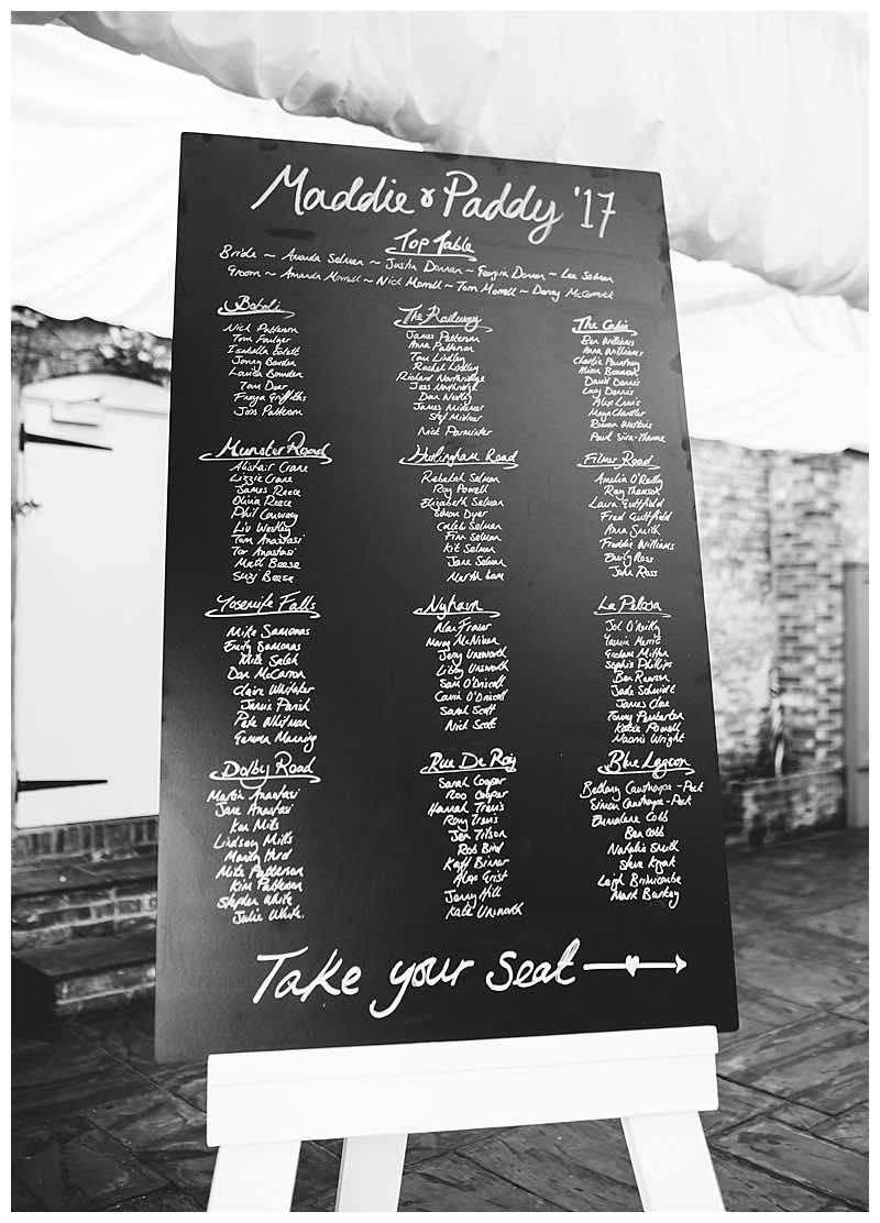 chalkboard table seating plan at Northbrook park wedding
