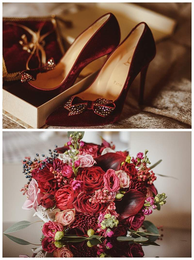 burgundy bridal bouquets, burgundy bridal shoes.