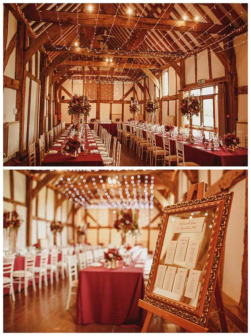 loseley barn wedding flowers, burgundy table centrepieces, burgundy tablecloths, candelabra wedding