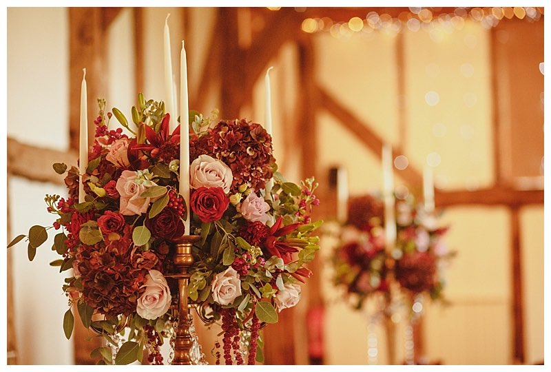 wedding flowers centrepieces in surrey at loseley barn