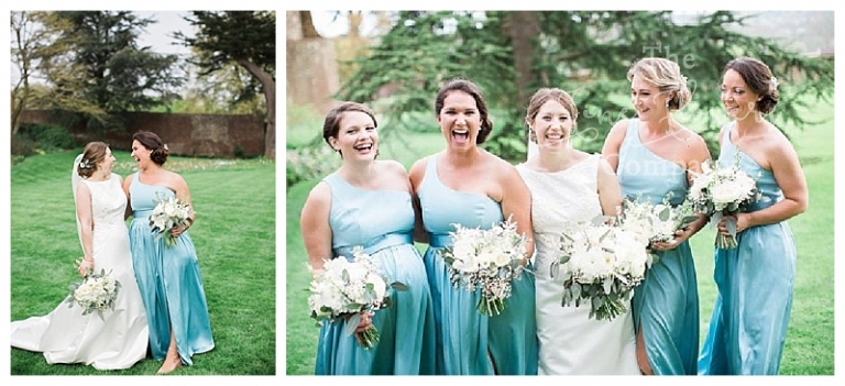 aqua sage green bridesmaids dresses and white bridesmaids bouquets with eucalyptus