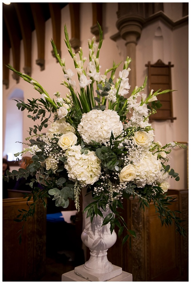 church wedding flowers - white urn with white flowers