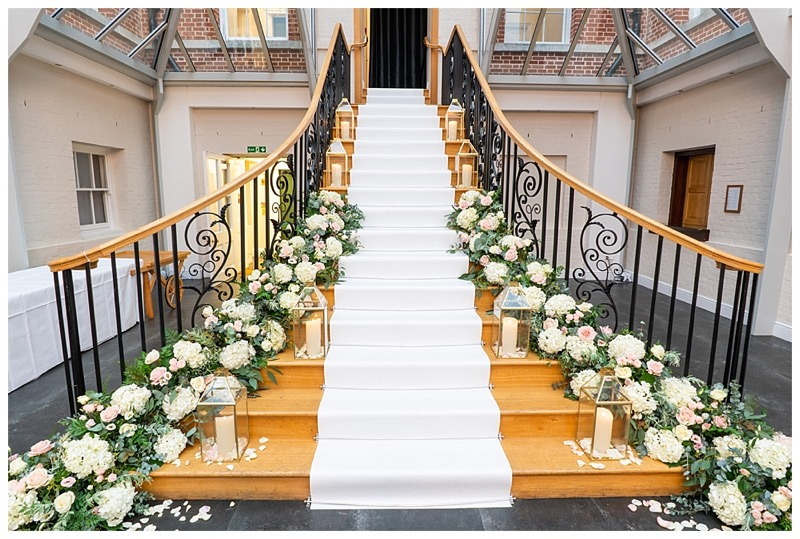 Botleys Mansion stairs flowers