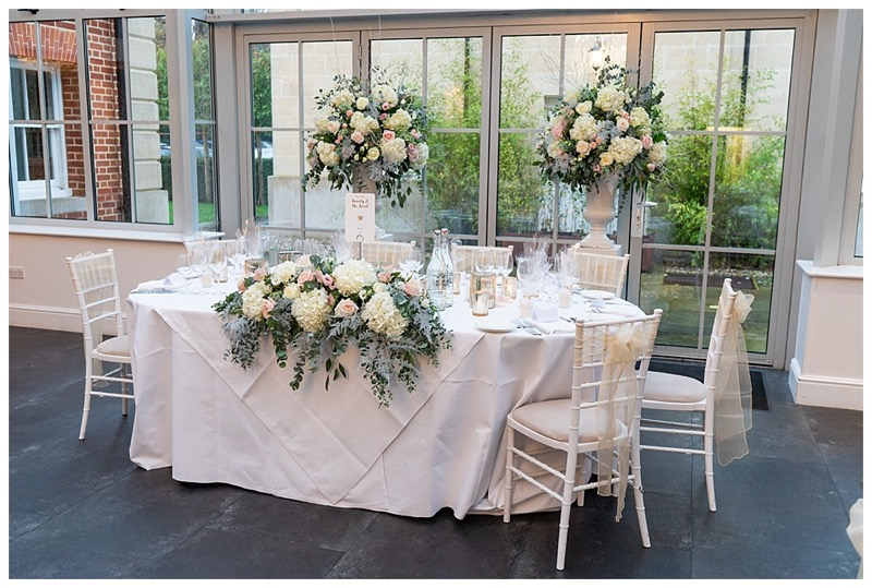 Botleys mansion top table wedding flowers