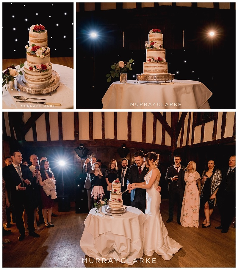 wedding cake cutting at Great Fosters wedding