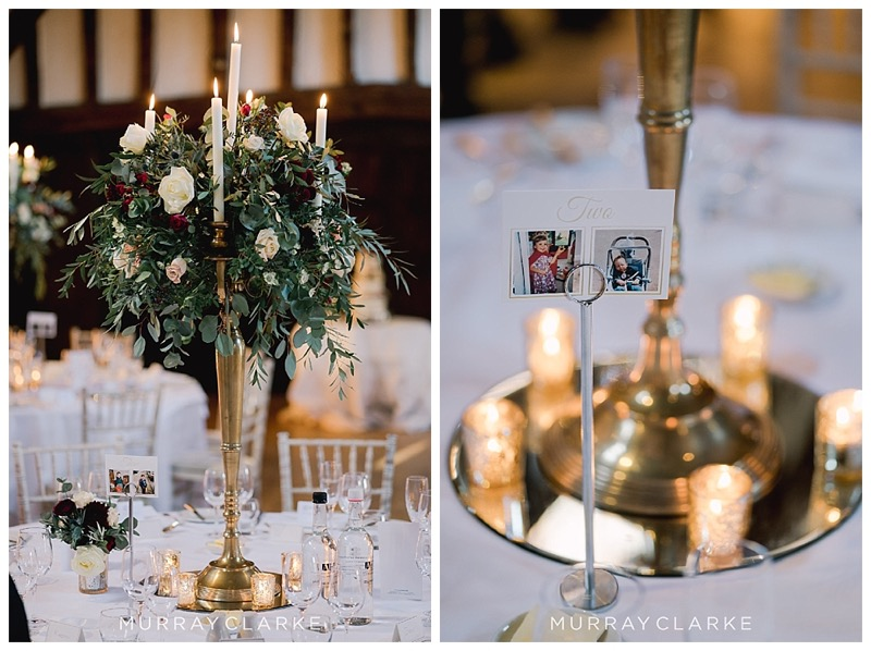 tall gold candelabra table display wedding centrepiece with gold votives at the base