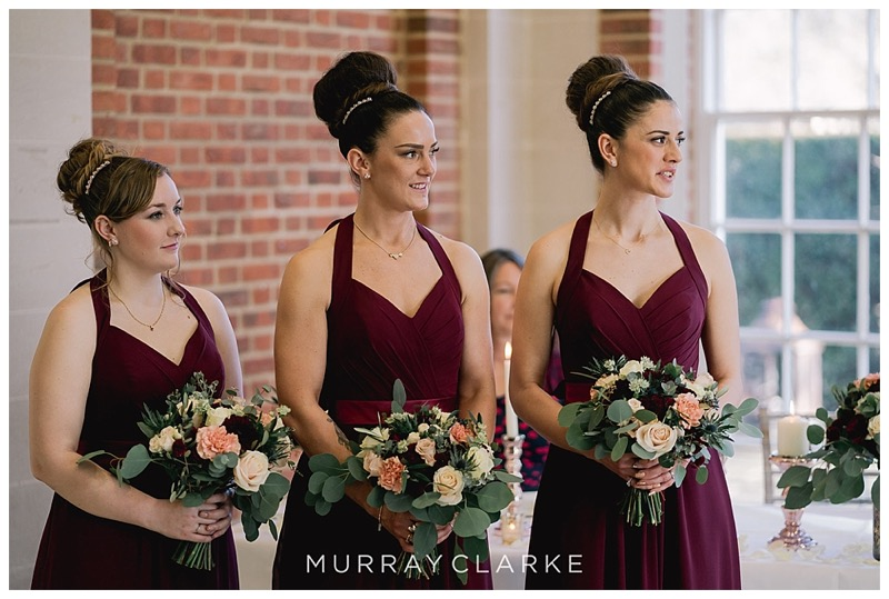 burgundy bridesmaids dresses with deep burgundy, cream and vintage pink organic bouquets.