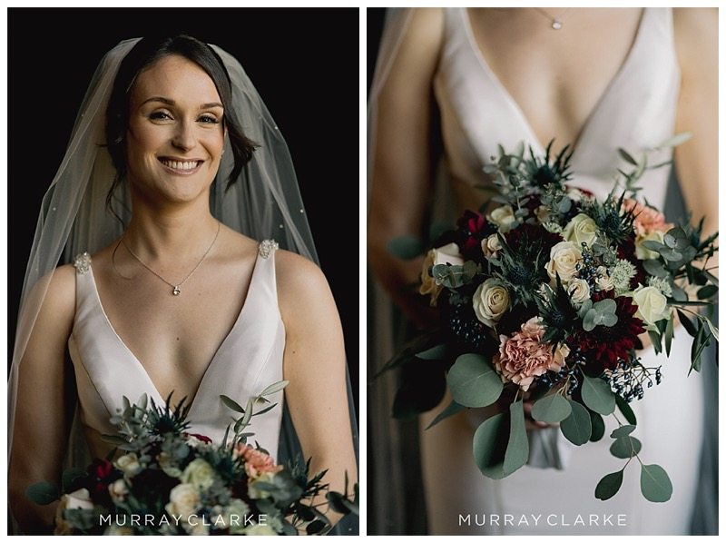 burgundy nude vintage pink and ivory cream bridal bouquet with eucalyptus populus,